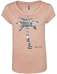 86eb2e541263 Fresh Made Damen T-Shirt mit Pailletten-Palme   Bequemes Basic Shirt in Grau