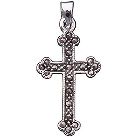 Los hombres de plata de ley y la cruz de Marcasita colgante en negro collar de cordón de cuero