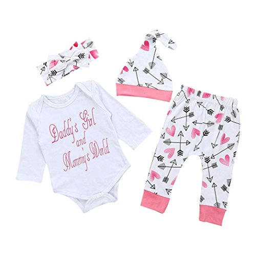Dorame 0-18M Baby Long Sleeve Clothes Set, Newborn Clothes Letter Romper Top+Pants+Hat Outfits Clothes Set