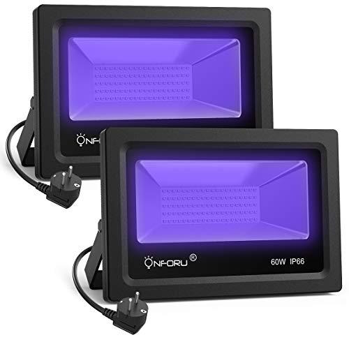 Onforu Lot de 2 Projecteur UV LED 60W, Lumière Noire IP66 Imperméable, Lampe LED Ultra-violet, Eclairage à Effet pour Aquarium, Soirée, Peinture Fluo, affiche fluorescente, Néon, Bar, Fête