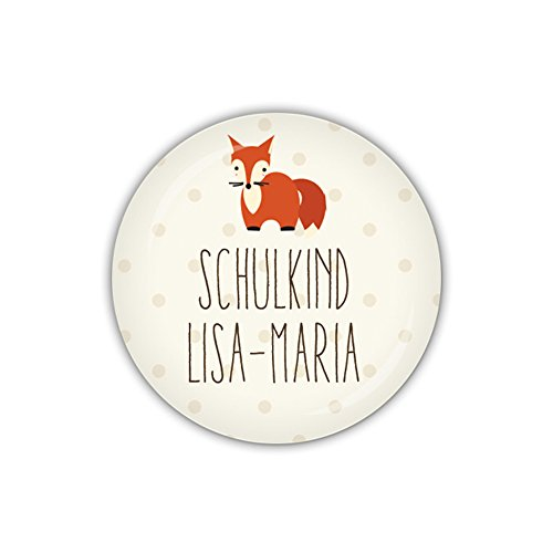 lijelove® Button 38mm Ø FOXY DOTS Schulkind Fuchs, personalisiert (Art. PBU268) -