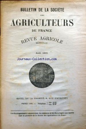 BULLETIN DE LA SOCIETE DES AGRICULTEURS DE FRANCE du 01/08/1919