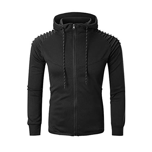 VBWER Herren Sweatshirt Top Herbst Langarm Plaid Hoodie Mit Kapuze T-Shirt Outwear (Plaid Zip Kapuzen Sweatshirt Herren)