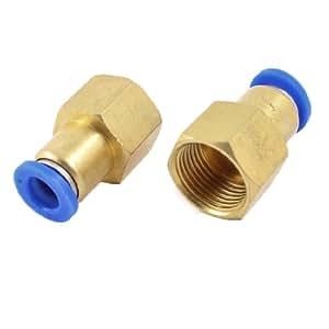sourcingmap® Industrie 8 mm-Buchse auf 15 mm Gewinde Quick Fittings Push in, 2 Stück