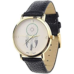 Dreamcatcher Japanese Movement Stainless Steel Back Black Faux Leather Strap Watch
