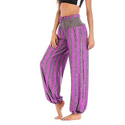 Pantalon Fluide Femme Imprimé Florale Ryures Pants Éléphant Yoga Doux Casual Losse Pantalon Sarouel Aladin Jogging Hiver(Violet,XX-Large)