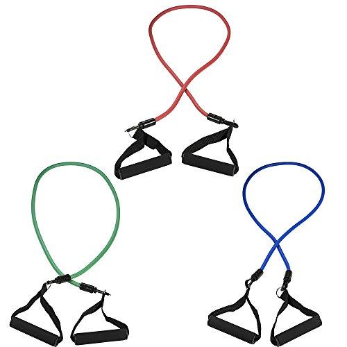 GORILLA SPORTS® Fitnessbänder Set 117 cm verstellbar - Expander mit 3 Tubes in verschiedenen Stärken