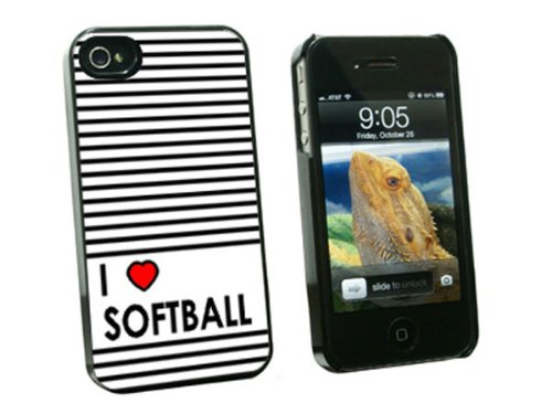 Graphics and More I Love Heart Softball Snap-On Hard Protective Case for Apple iPhone 4/4S - Non-Retail Packaging - - 4 Iphone Softball Fall