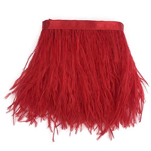 Sowder Straußenfeder-Borte, Fransen mit Satinband, für Kleidung, Kostüme, Nähen, Dekoration, 183 cm rot