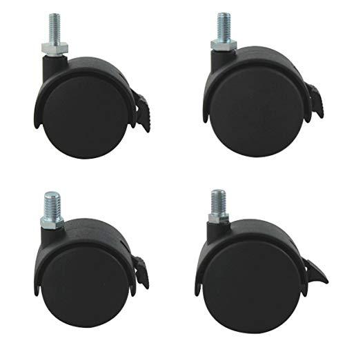 Möbelrollen 4er Set ø50mm M10 Gewindestift Transportrollen mit Bremse Kunststoff
