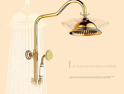 Goldene Dusche Regen besprengt Kit Titanium Unterputz-Doppel-Gold-plated Dusche heißes und kaltes Wasser Mischventil , a - Kit-gold Plated
