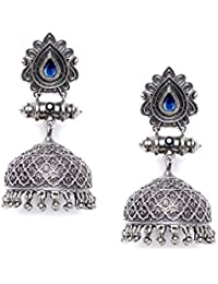 ZeroKaata Fashion Jewellery Designer Garnet Colored Stone Studded Tribal Jewellery Silver Plated Jhumkis For Women...