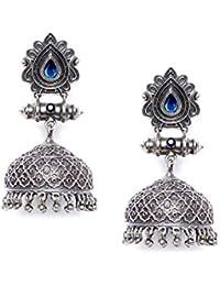 ZeroKaataFashion Jewellery Designer Garnet Colored Stone Studded Tribal Jewellery Silver Plated Jhumkis For Women...