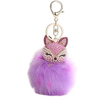 Artistic9(TM) 9 CM Fashion Fox Car Key Chains Pendant Women Pompoms Key Ring Holder (Purple)