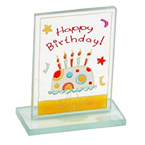 Plaque en verre teinté petit–Happy Birthday