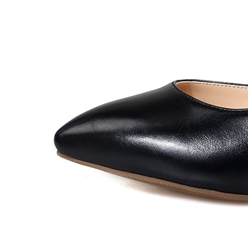 AgooLar Femme Pointu Tire Matière Mélangee Couleur Unie Stylet Chaussures Légeres Noir