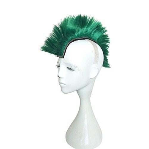 Namecute Skinhead Grün Mohawk Punk Perücke Faschingsperücke Perücken Kostüm Haarteil (Mohawk Kostüme)