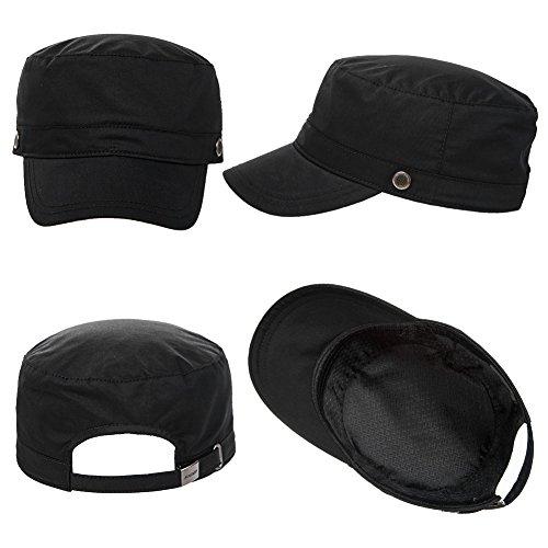 Siggi Hommes Armée Casquette Militaire Pare Soleil Coton Femmes Chapeau Baseball Visière TypeD_Black