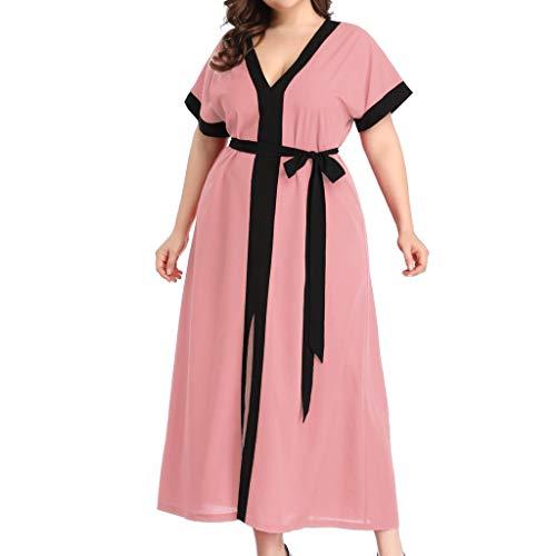 Lulupi Übergröße Damen Kleider Kurzarm Kleid V-Ausschnitt Strand Blumen Kleider Chiffon Kleid Sommerkleid mit Gürtel Partykleid Wrap Maxi-Kleid Große Größe Splice Strandkleid - Kurzarm-wrap