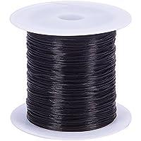 Pandahall 1 rollo fibra cuerda de hilo de alambre 0,8 mm negro elastico para Abalorios joyeria, 10m / roll