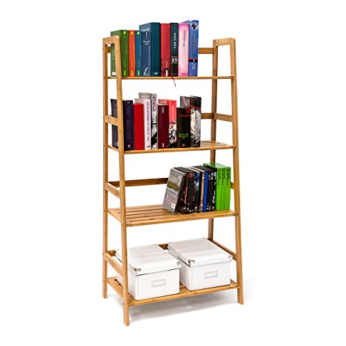 Relaxdays bamboo bookshelf bookcase 120 x 57 x 31 cm wooden shelving unit ladder shape standing - Scala libreria ikea ...