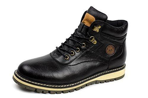 uomo biker alla moda con lacci, alla caviglia rétro Scarponcini chelsea casual Scarpe da lavoro Nero