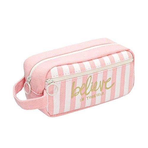 Cdet 1x Lona creativa lindo estuche de lápices bolsa de cosméticos bolsa de maquillaje de moda con papelería estudiante bolsa de almacenamiento caja de lápices de gran capacidad
