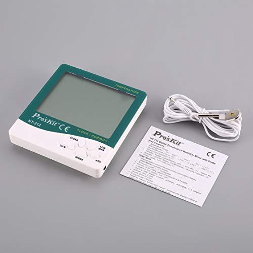 Pros'Kit NT-312 Digitales Temperatur-Feuchtemessgerät mit Fühlerfeuchte Hygrometer-Thermometer mit Wecker & Kalender