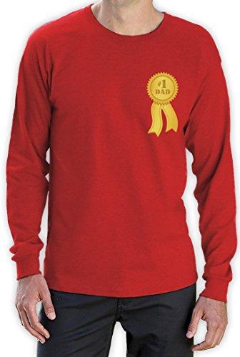 Number 1 Dad - Shirt mit Goldmedalie zum Vatertag Langarm T-Shirt Rot