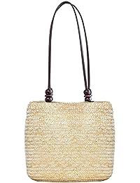 Vodool Women Beach Rattan Woven Tote Bag Summer Bead Travel Straw Shoulder Handbag