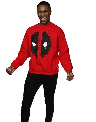 Marvel Herren Deadpool Splat Face Sweatshirt Kirschrot