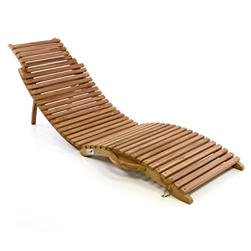 Divero Luxus Relaxliege Sonnenliege Strandliege Gartenliege aus Teak-Holz/Akazie mehrfach verstellbar behandelt braun reine Handarbeit faltbar klappbar mit Tragegriff (Teak)