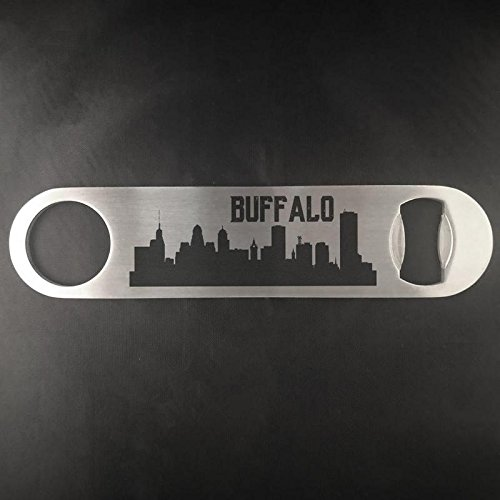 Buffalo New York Skyline Edelstahl Heavy Duty Flat Bar Schlüssel Bier Lasergravur Flaschenöffner