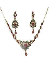 Jewelshingar Jewellery Zircon Stone Gold Plated Colour Multi-Colour Necklace Set For Women ( 41025-maroon-green-golden )