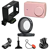 Livecity Protective Cover UV Lens Frame for Xiaomi Xiaoyi 4K YI Lite Sports Camera Kit (Rose Gold)