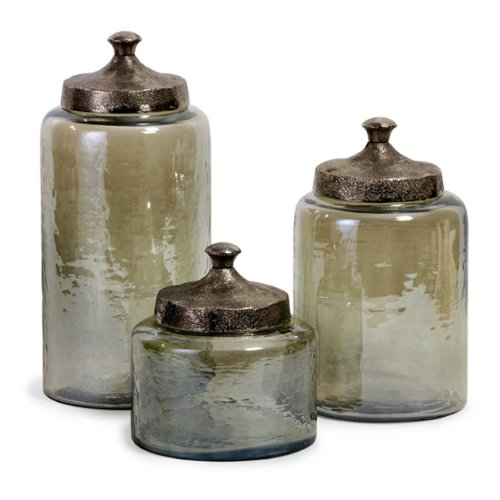 Imax 6971-3 Round Green Luster Canisters, Set Of 3