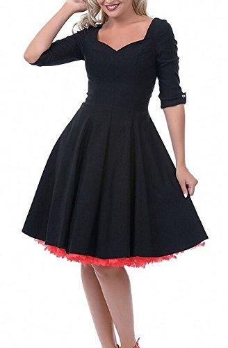LUOUSE Femme Manteau Robe Rétro Vintage Années 50 's Style Audrey Hepburn Classique Coton Plusieurs couleurs Noir