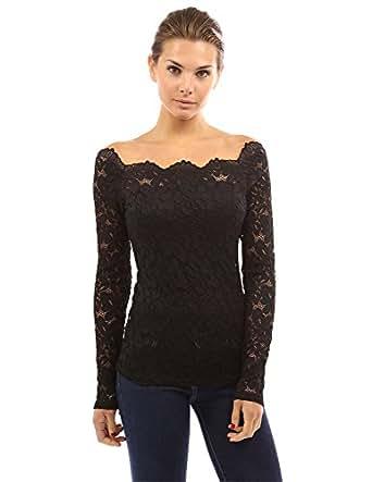 PattyBoutik Women's Floral Lace Off Shoulder Top (Black 14)