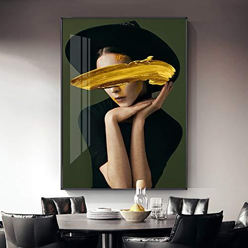 RTCKF Mode abstrakte porträt druckdruck leinwand Poster wandkunst Bild Wohnzimmer Dekoration (kein Rahmen)