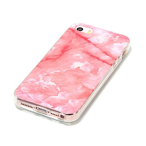 """MOONCASE iPhone 5/iPhone 5s/iPhone SE Housse, [Colorful Marble Pattern] Ultra Thin TPU Anti-dérapante Anti-choc Protection Etui Case pour iPhone 5s/iPhone SE 4.0"""" Brown Hotpink"""