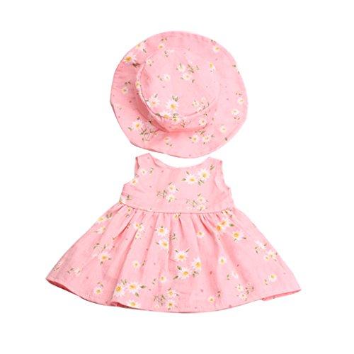 MagiDeal Puppenkleider Blumenkleid & Hut Anzug, Puppe Outfit Für 18 Zoll American Girl Puppe - Pink