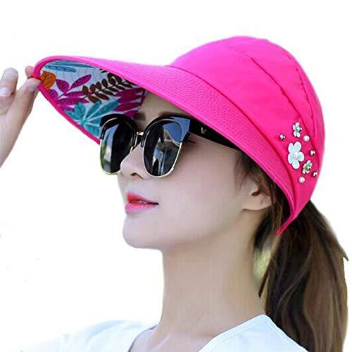 Hüte Sonnenhut Damen Wide Brim UV-Schutzkappen Floppy Beach PackableVisor (Farbe: Rot 1, Größe: 54-58CM) - Floral Damen Hut Charme