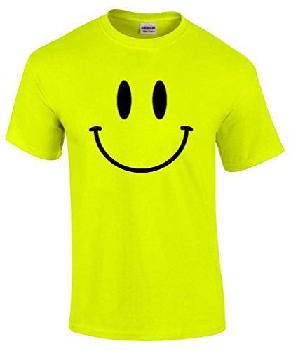 Men's Neon Yellow Smiley Face Raver T-shirt - Sizes S to 5XL