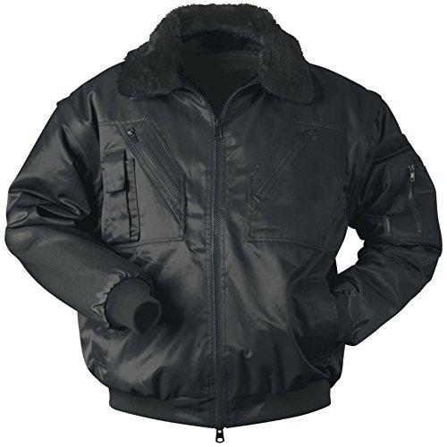 Piloten-Jacke 4 in 1 - Kragenfutter und Ärmel abtrennbar - schwarz - Größe: 3XL