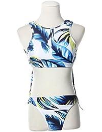 Imjono Ropa Azul Pluma Imprimir Bikini Swimsuit Split S