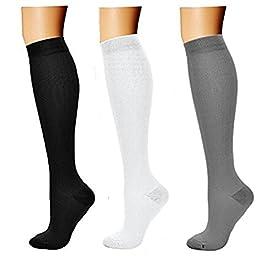 3 paia di calze a compressione da uomo e donna, calzini a compressione anti-trombosi, calzini da corsa Tromba per sport…