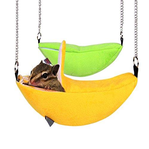 Lunji Hamster de peluche estilo banana, juguetes para colgar en la cama para ratón de ardilla, juguete para jaula de animales pequeños