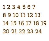 marinamalina Adventszahlen zum Aufbügeln Aufkleber Hotfix Bügelbild Textilaufkleber Glitterfolie Glitzerfolie bunt 24 Stück (429 Dark Gold)