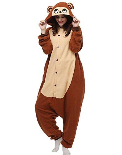 Onesies mit Kapuze Erwachsene Unisex Cospaly Schlafanzug Halloween Kostüm Braun Affe Geeignet für Hohe 160-175CM (Genie Halloween-kostüm Für Erwachsene)