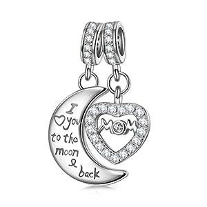 NINAQUEEN Bestes Geschenk für Mama Damen Charm mit Anhänger Mond und Herz 925 Sterling Silber Fit für Charm Armband, Weihnachtsgeschenke, Kommt in Geschenkbox, Nickelfrei Bestanden SGS Test